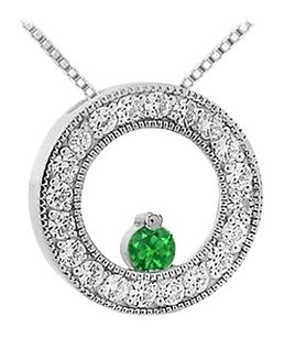 LoveBrightJewelry Emerald and Diamond Circle Pendant 14K White Gold 1.00 CT TGW