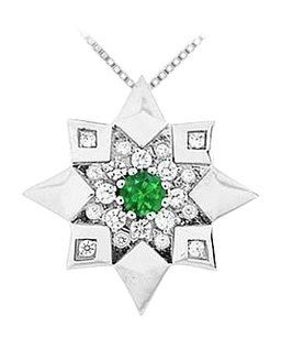 LoveBrightJewelry Emerald and Diamond Star Pendant 14K White Gold 0.66 CT TGW