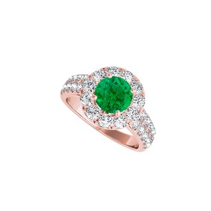 LoveBrightJewelry Emerald Cz Engagement Ring In 14k Rose Gold Vermeil