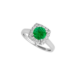 LoveBrightJewelry Emerald Cz Halo Engagement Ring In 925 Sterling Silver