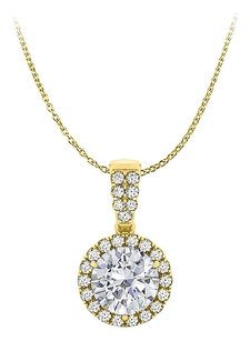 LoveBrightJewelry Exhilarate with Diamonds Halo Pendant 14K Yellow Gold
