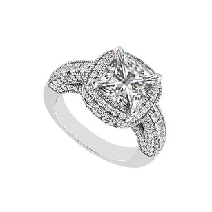LoveBrightJewelry Fabulous Cubic Zirconia Engagement Ring Sterling Silver