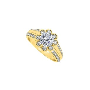 LoveBrightJewelry Fancy Cubic Zirconia Floral Fancy Ring in 18K Yellow Gold Vermeil