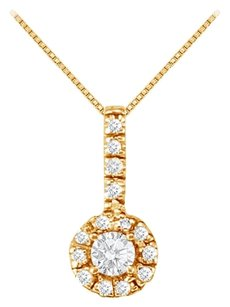 LoveBrightJewelry Fancy Round Cubic Zirconia Halo Pendant in 18K Yellow Gold Vermeil