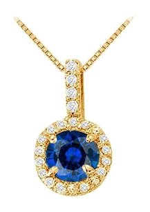 LoveBrightJewelry Fancy Round Sapphire and Cubic Zirconia Halo Pendant