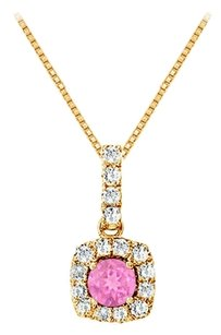 LoveBrightJewelry Fancy Square Created Pink Sapphire and Cubic Zirconia Halo Pendant in Gold Vermeil over Sterling