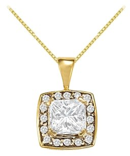 LoveBrightJewelry Fancy Square Cubic Zirconia Halo Pendant in Gold Vermeil over Sterling Silver 1.25 CT TGW