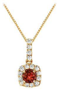 LoveBrightJewelry Fancy Square Garnet and Cubic Zirconia Halo Pendant in 14K Yellow Gold Vermeil over Silver