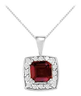 LoveBrightJewelry Fancy Square Garnet and Cubic Zirconia Halo Pendant in Sterling Silver