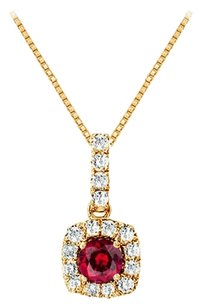 LoveBrightJewelry Fancy Square Ruby and Cubic Zirconia Halo Pendant in Yellow Gold Vermeil over Sterling Silver