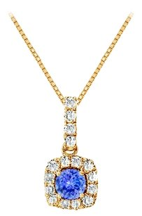 LoveBrightJewelry Fancy Square Tanzanite and Cubic Zirconia Halo Pendant in 14K Yellow Gold Vermeil over Silver