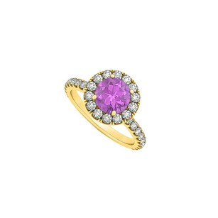 LoveBrightJewelry February Birthstone Amethyst And Cubic Zirconia Halo Engagement Ring In 18k Yellow Gold Vermeil