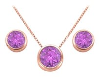 LoveBrightJewelry February Birthstone Amethyst Pendant and Stud Earrings Set in 14K Rose Gold Vermeil
