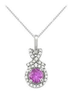 LoveBrightJewelry February Birthstone Amethyst with CZ Halo Pendant in 925 Sterling Silver