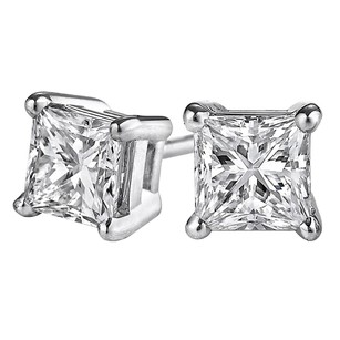 LoveBrightJewelry Fine White Gold Push Back Square Diamond Stud Earrings