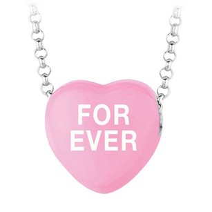 LoveBrightJewelry Forever Dark Pink Heart Pendant Necklace With 16 Inch Rolo Rhodium Chain