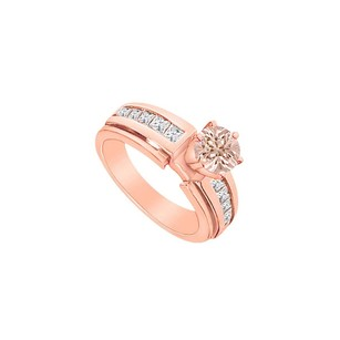 LoveBrightJewelry Morganite And Cubic Zirconia Engagement Ring In 14k Rose Gold 1.50 Ct Tgw Jewelry Gift For Her