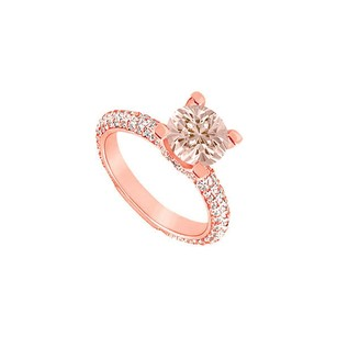 LoveBrightJewelry Four Prong Set Morganite With Cz Accents On 14k Rose Gold Vermeil Engagement Ring At Fab Price