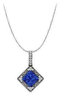 LoveBrightJewelry Free Chain with Princess Cut Sapphire and CZ Pendant