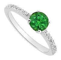 LoveBrightJewelry Frosted Emerald and Cubic Zirconia Engagement Ring 925 Sterling Silver 0.50 CT TGW