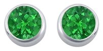 LoveBrightJewelry Frosted Emerald Bezel Set Stud Earrings 925 Sterling Silver 2.00 Carat Total Gem Weight