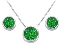 LoveBrightJewelry Frosted Emerald Pendant and Stud Earrings Set in Sterling Silver