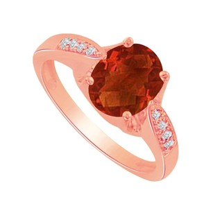 LoveBrightJewelry Garnet and Cubic Zirconia Ring in 14K Rose Gold