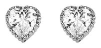 LoveBrightJewelry Glittering CZ Heart Shape Stud Earrings in 925 Silver