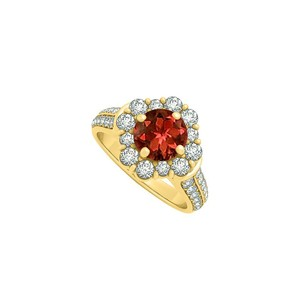 LoveBrightJewelry Gorgeous Jewelry Gift Garnet And Cz Ring 2.00 Tgw