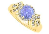 LoveBrightJewelry Gorgeous Tanzanite and CZ Ring in Yellow Gold Vermeil