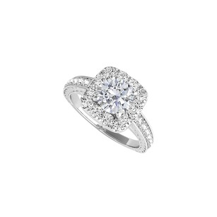LoveBrightJewelry Halo Engagement Ring With Cz In 925 Sterling Silver