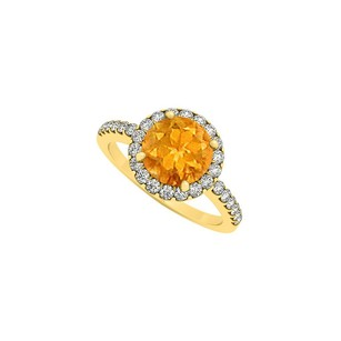 LoveBrightJewelry Halo Engagement Ring With November Birthstone Citrine And Cubic Zirconia In 18k Gold Vermeil