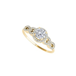 LoveBrightJewelry Halo Ring In Criss Cross Design With Cubic Zirconia