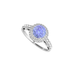 LoveBrightJewelry Halo Ring In Sterling Silver With Tanzanite And Cz