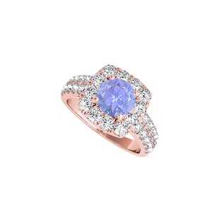 LoveBrightJewelry Halo Ring With Cz Tanzanite In 14k Rose Gold Vermeil