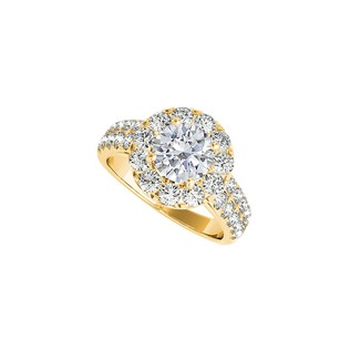 LoveBrightJewelry Halo Ring with Diamond Crafted in 14K Yellow Gold
