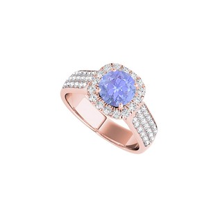 LoveBrightJewelry Halo Rose Gold Vermeil Ring With Tanzanite And Cz