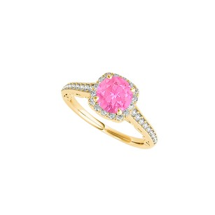 LoveBrightJewelry Halo Yellow Gold Vermeil Ring With Pink Sapphire Cz