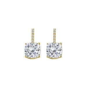 LoveBrightJewelry Hanging Style Cubic Zirconia Yellow Gold Stud Earrings