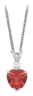 LoveBrightJewelry Heart Shaped Created Ruby and Cubic Zirconia Pendant Necklace in Sterling Silver.1.02ct