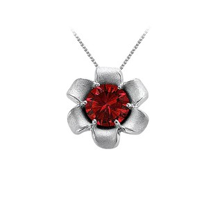 LoveBrightJewelry July Birthstone Beautiful Ruby Flower Pendant In 14k White Gold With Decent Price Range