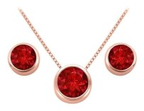 LoveBrightJewelry July Birthstone Ruby Pendant and Stud Earrings Set in 14K Rose Gold Vermeil