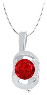 LoveBrightJewelry Knot pendant in Sterling Silver with July Birthstone Created Ruby 0.50 CT TGW