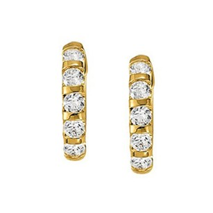 LoveBrightJewelry Large Diamond Hoop Earrings for Women in Bar 14K Yelllow Gold 2 CT TDW