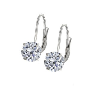 LoveBrightJewelry Leverback Earrings in 14K White Gold with CZ Gemstone