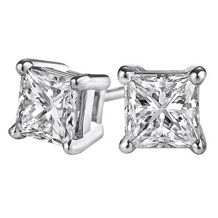 LoveBrightJewelry Lovely Princess Cut Natural Diamond Stud Gold Earrings