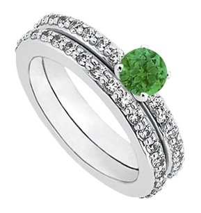 LoveBrightJewelry May Birthstone Created Emerald &CZ Engagement Ring with Wedding Band Set Sterling Silver 1 CT TGW