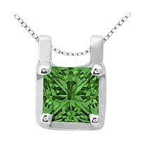 LoveBrightJewelry May Birthstone Created Emerald Pendant in 14kt White Gold 0.15 CT TGW.