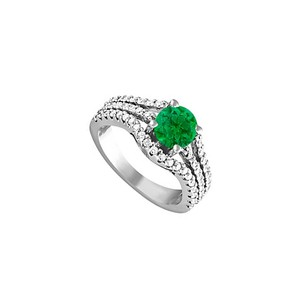 LoveBrightJewelry May Birthstone Emerald and Cubic Zirconia Ring 1.75 TGW