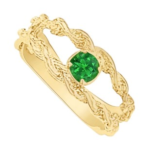LoveBrightJewelry May Birthstone Emerald Mother Ring in 14K Yellow Gold